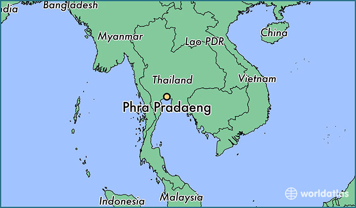 map showing the location of Phra Pradaeng