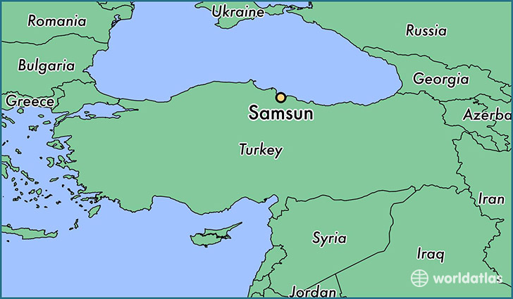 map showing the location of Samsun