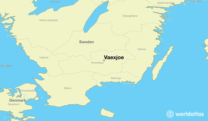 map showing the location of Vaexjoe