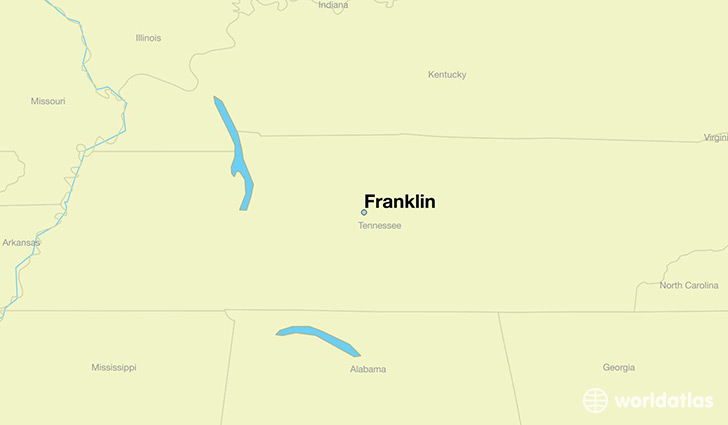 map showing the location of Franklin