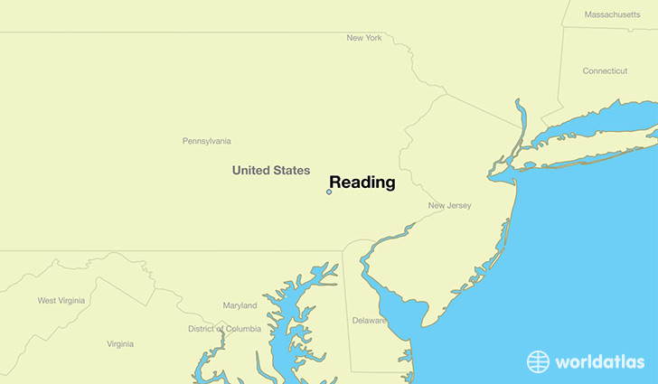 map showing the location of Reading