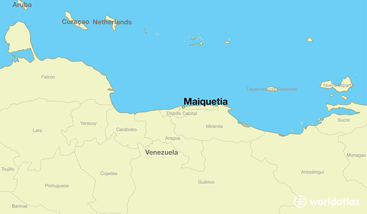 map showing the location of Maiquetia