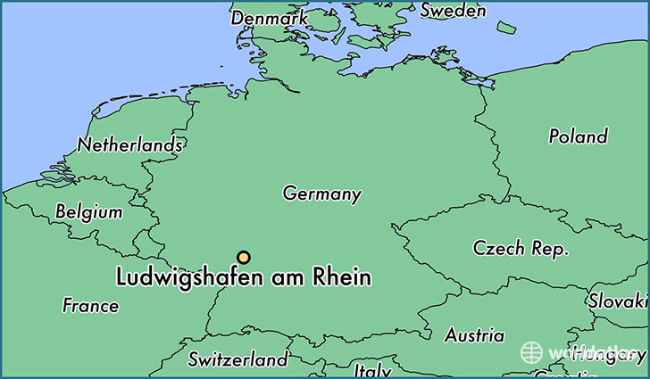 map showing the location of Ludwigshafen am Rhein