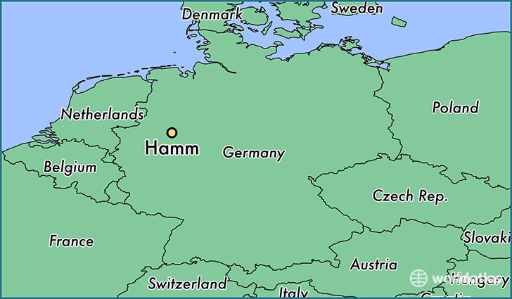 map showing the location of Hamm