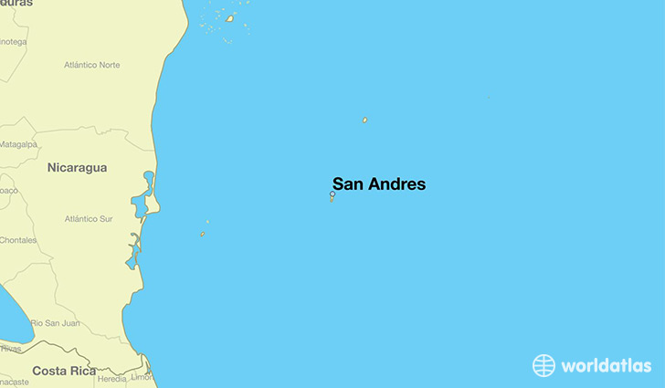 map showing the location of San Andres