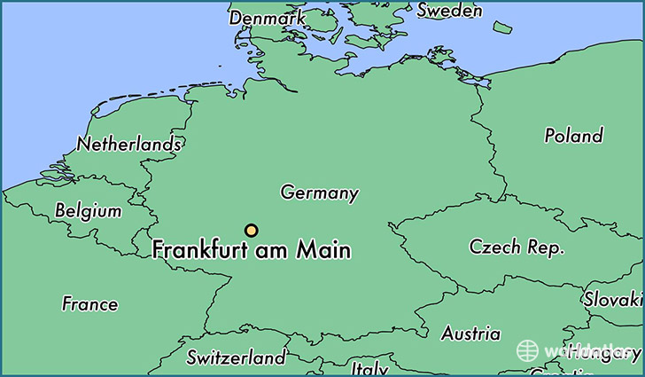 Where is frankfurt am main germany frankfurt am main hesse map map showing the location of frankfurt am main gumiabroncs Images