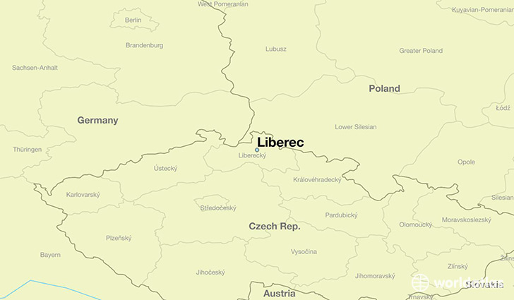 map showing the location of Liberec