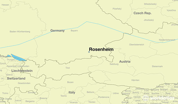 map showing the location of Rosenheim