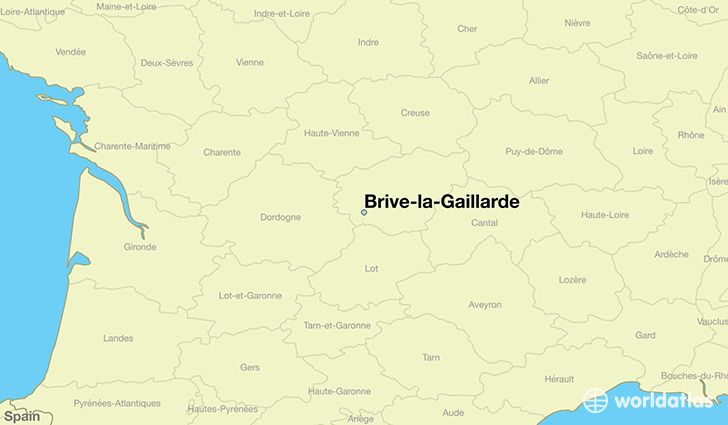 map showing the location of Brive-la-Gaillarde