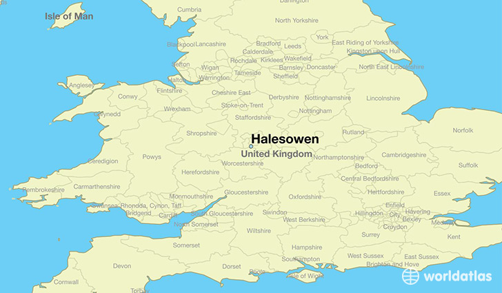 map showing the location of Halesowen