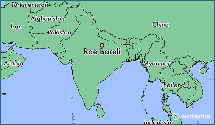map showing the location of Rae Bareli