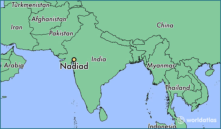 map showing the location of Nadiad