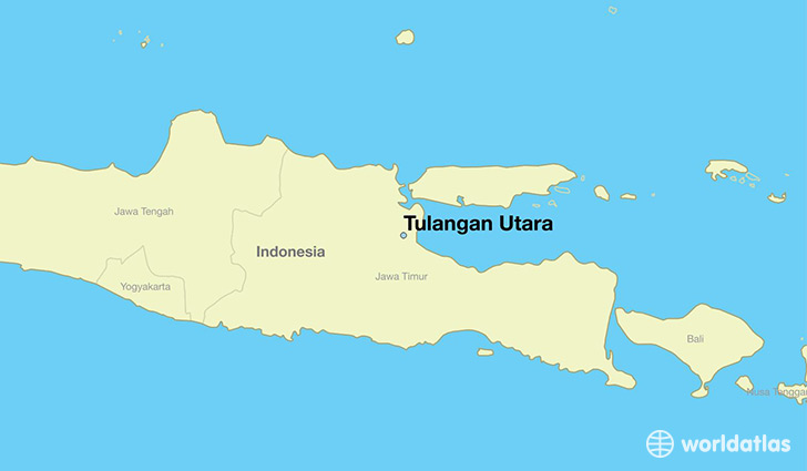 map showing the location of Tulangan Utara