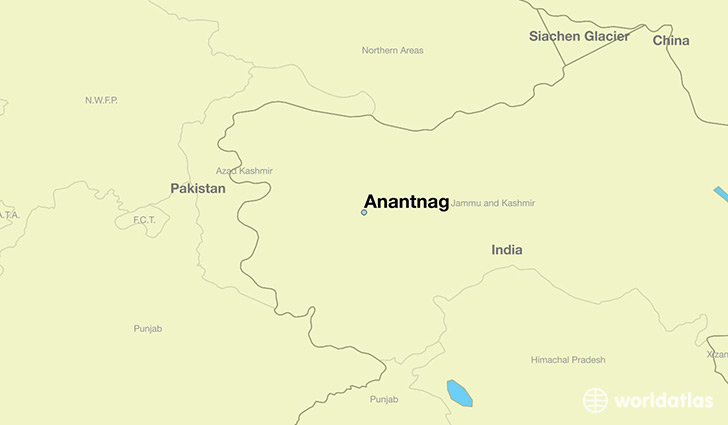 map showing the location of Anantnag