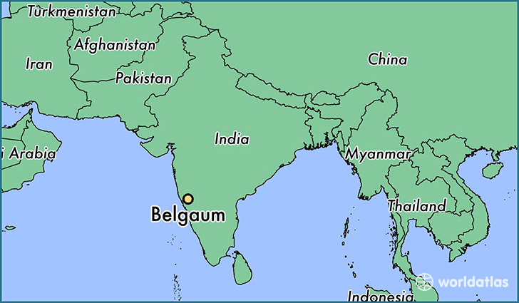 map showing the location of Belgaum
