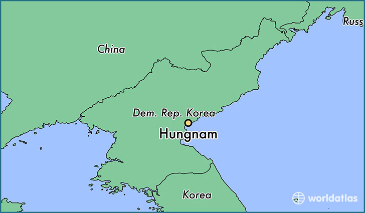 map showing the location of Hungnam
