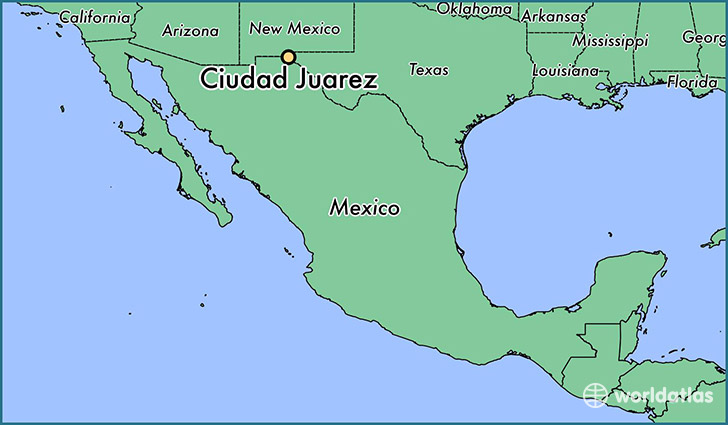 map showing the location of Ciudad Juarez