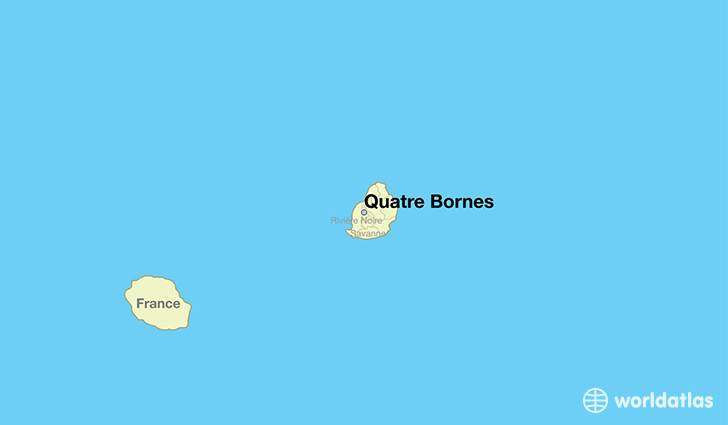 map showing the location of Quatre Bornes