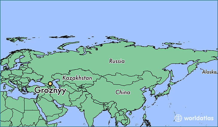 map showing the location of Groznyy