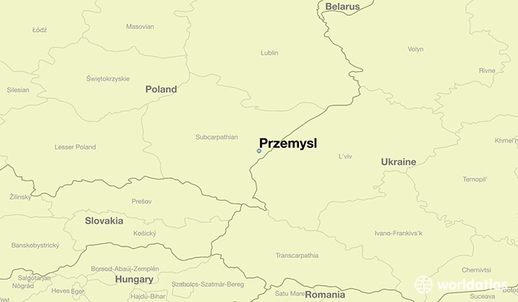 map showing the location of Przemysl