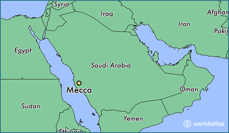 map showing the location of Mecca