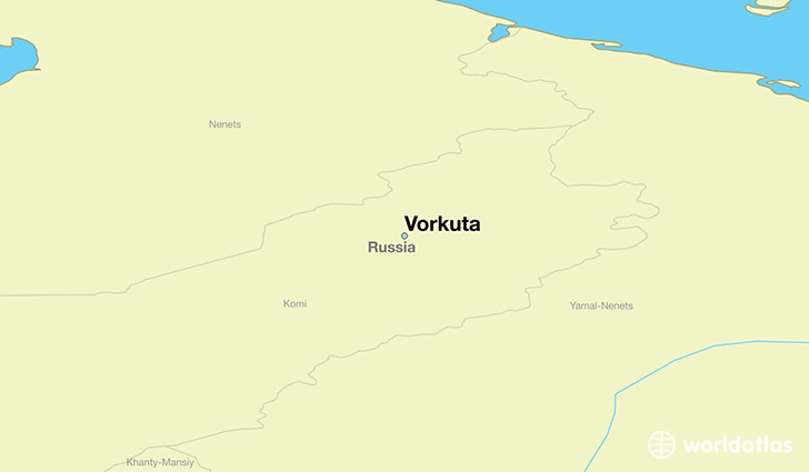 map showing the location of Vorkuta