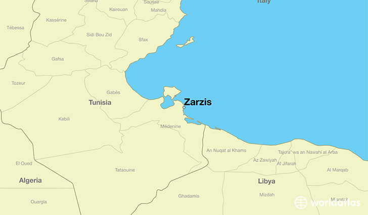 Where is Zarzis Tunisia Zarzis Madanin Map WorldAtlascom