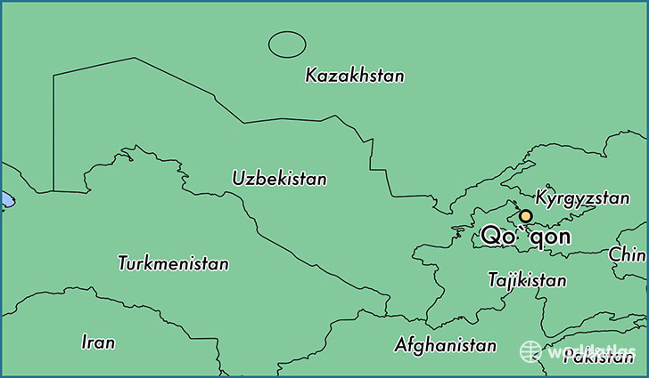 map showing the location of Qo`qon