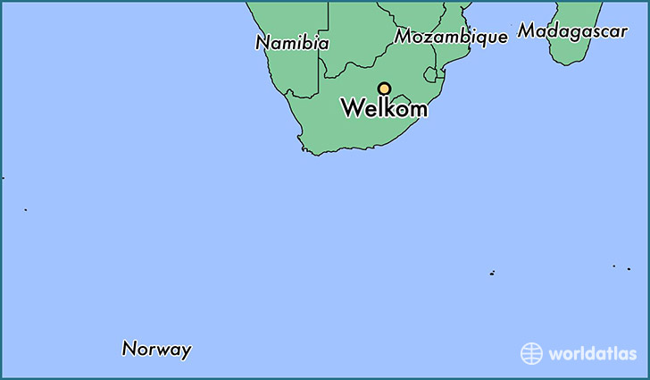 map showing the location of Welkom