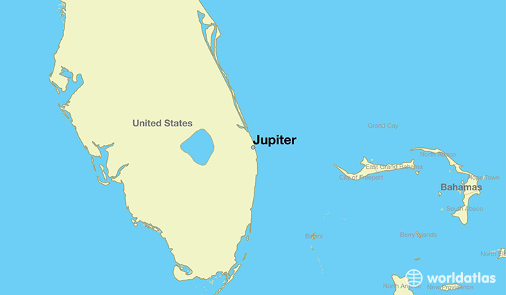 map showing the location of Jupiter