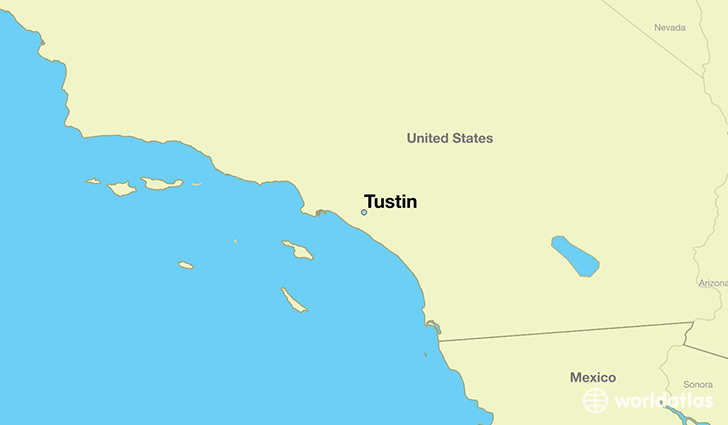 map showing the location of Tustin