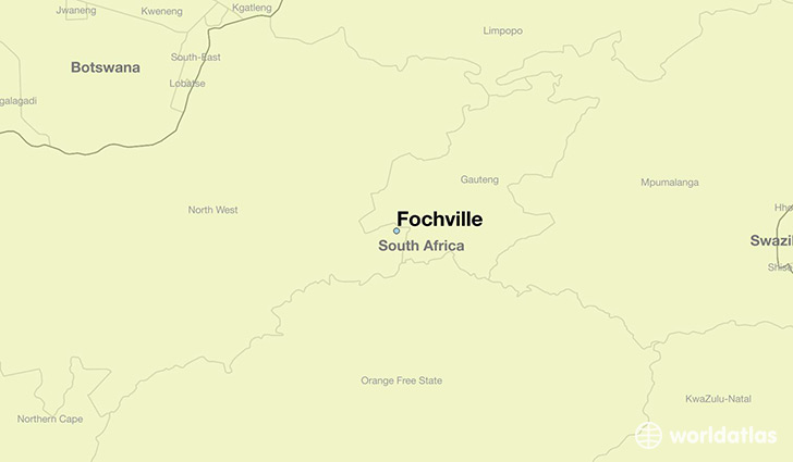 map showing the location of Fochville
