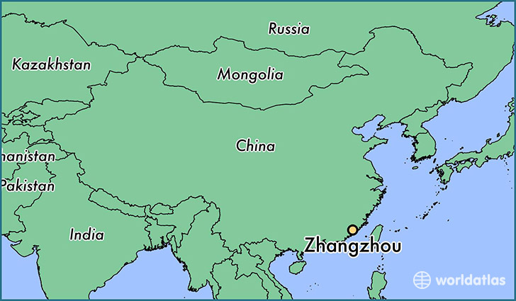 map showing the location of Zhangzhou