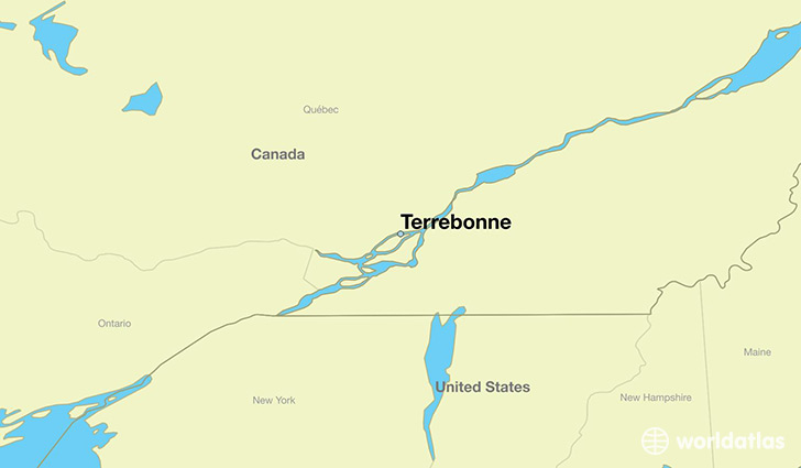 map showing the location of Terrebonne