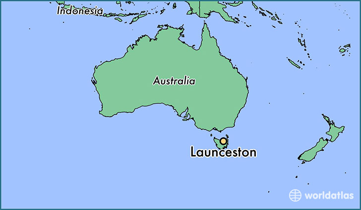 map showing the location of Launceston