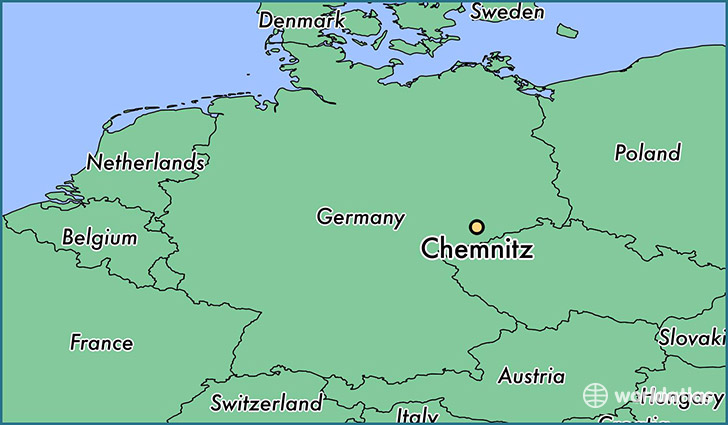 map showing the location of Chemnitz