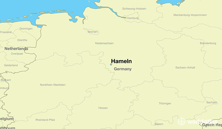 map showing the location of Hameln