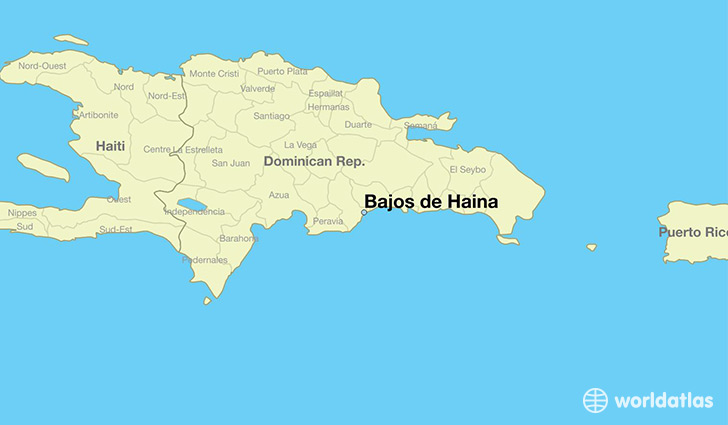 map showing the location of Bajos de Haina