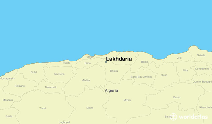 map showing the location of Lakhdaria