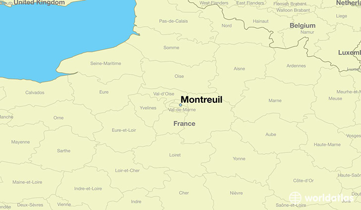 map showing the location of Montreuil