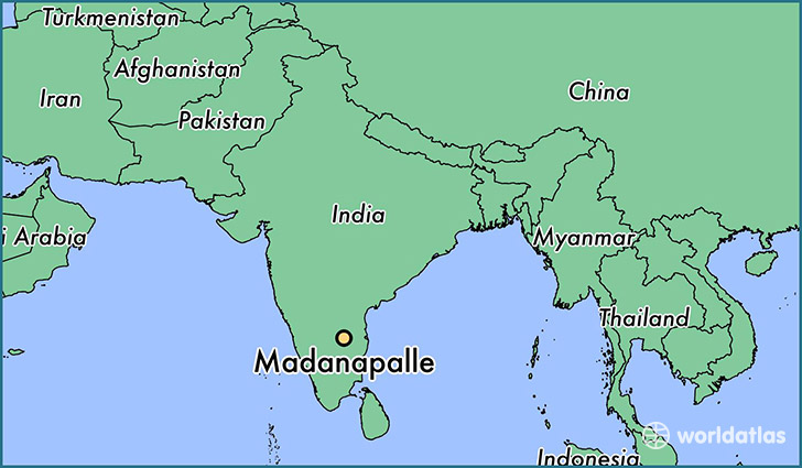 map showing the location of Madanapalle