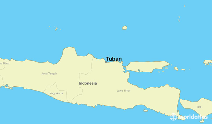 map showing the location of Tuban