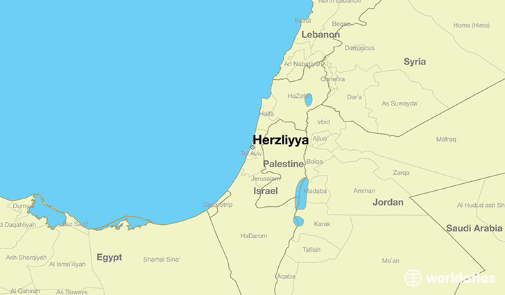 map showing the location of Herzliyya