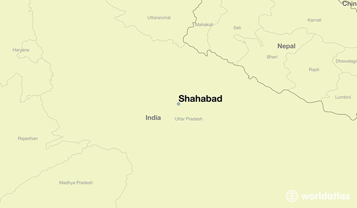 map showing the location of Shahabad