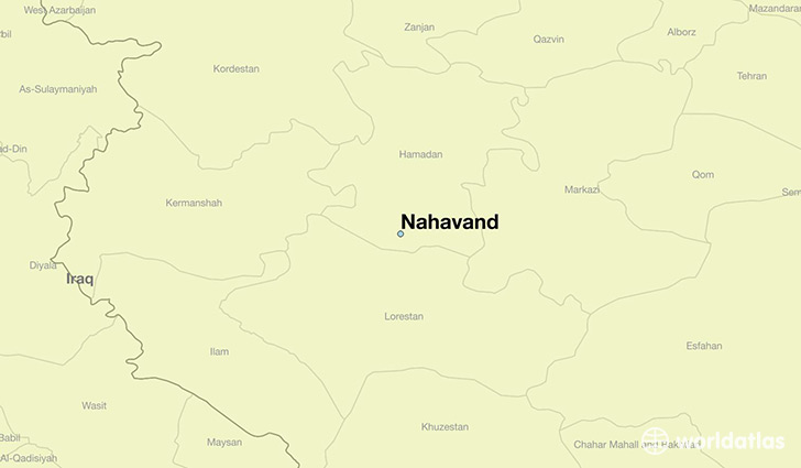 map showing the location of Nahavand