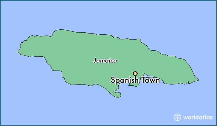 map showing the location of Spanish Town
