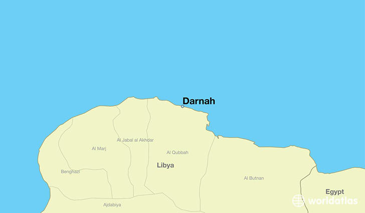 map showing the location of Darnah