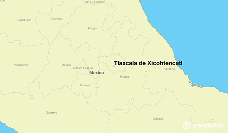 map showing the location of Tlaxcala de Xicohtencatl