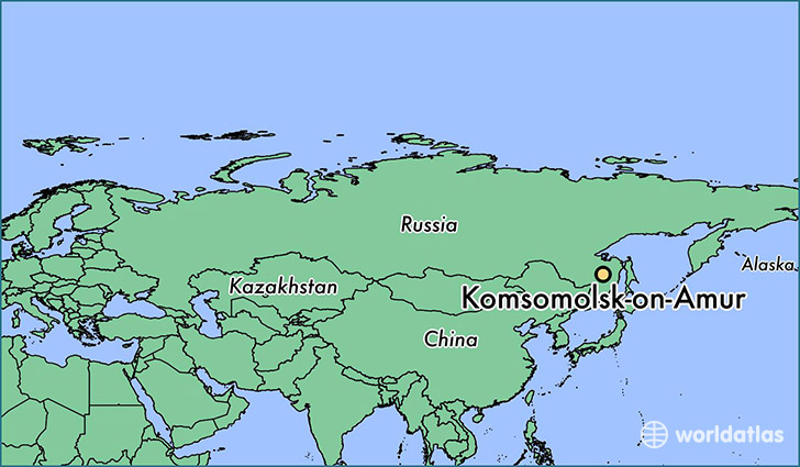 map showing the location of Komsomolsk-on-Amur