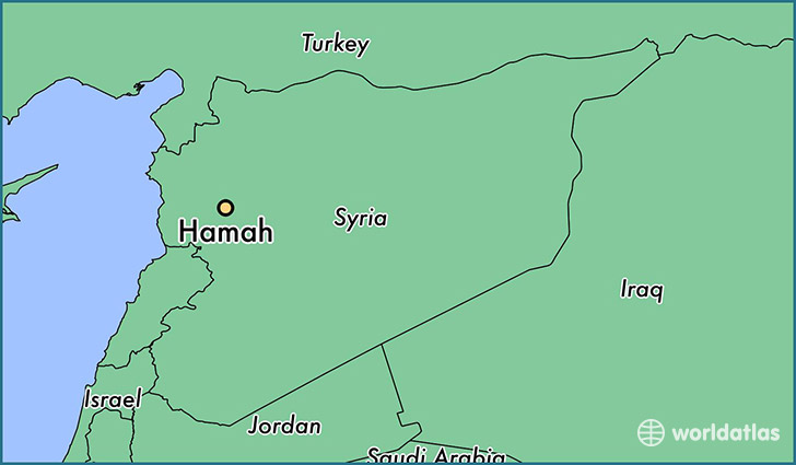 map showing the location of Hamah